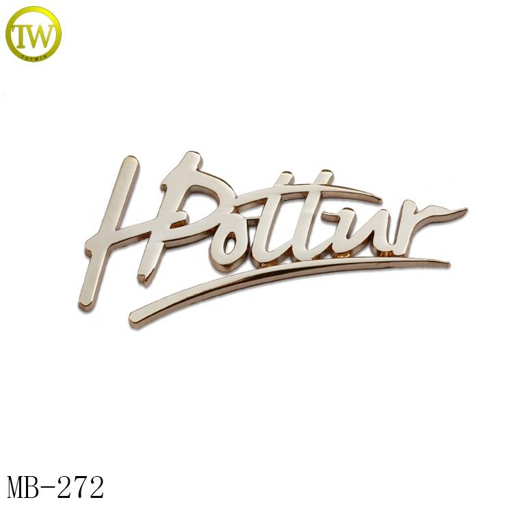 Fashion Metal Stamping 3d Metal Letter Logo Plate For Handbag Metal Logo Decorative Nameplates