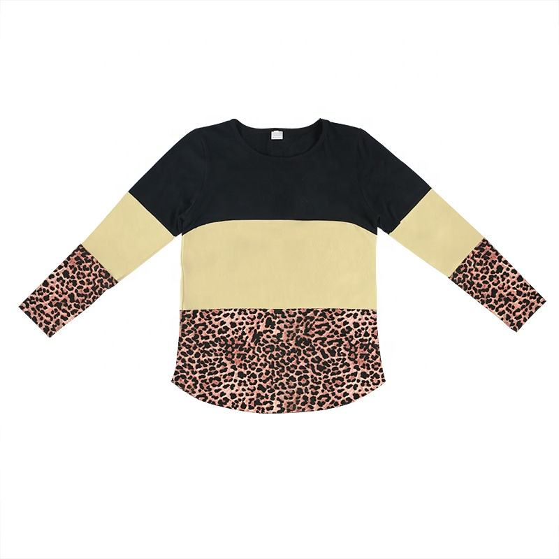 OEM Top Fashion Kid Clothes Cotton Stripe With Leopard Print Boy&Girl Tops For Spring&Autumn