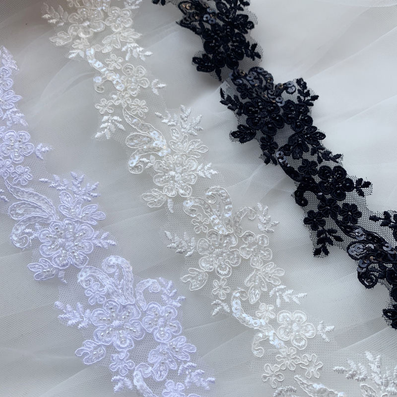 High Quality White/Ivory/Black Luxury Beaded Corded Bridal Lace Trims For Bridal Dress Veil