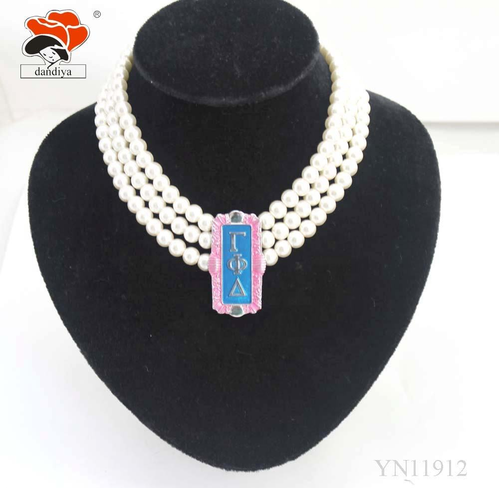 Gamma Phi Delta Pink and light sappire color Multilayer imitation pearl Necklace GPD Alloy Jewelry