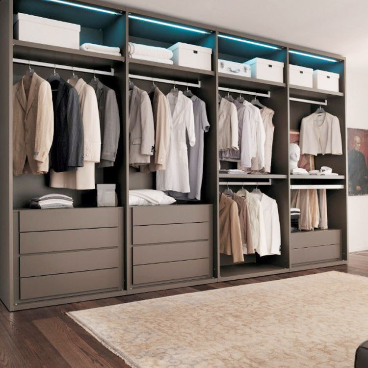 Master bedroom walk in closet with Melamine surface finish