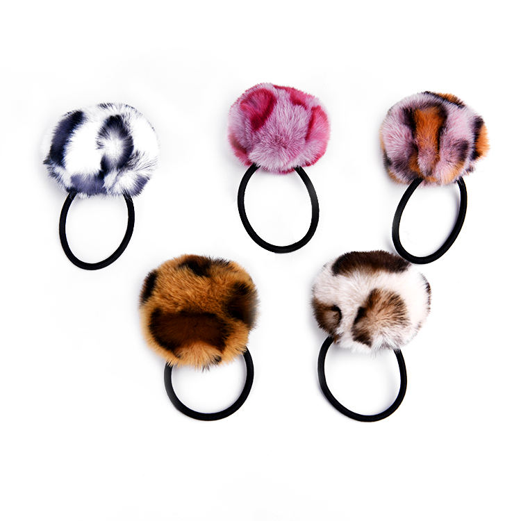 Hot Selling Personalized children hair accessory korean girls fur ball pom pom elastic hairband for kids