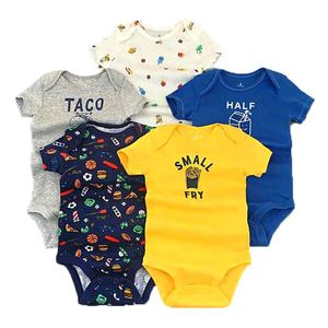 Hot sale Summer Newborn printed muslin cotton short sleeve baby boys clothes rompers