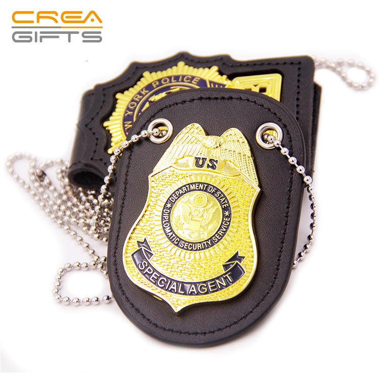 High Quality Custom 3D Gold Officer Military Metal Pin Badge With ID Leather Holder