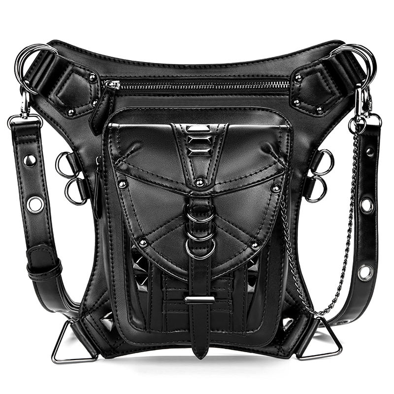 Unisex Rock Chest Waist Bag Gothic Fanny Packs Motorcycle Thigh Hip Leg PU Leather Belt Steam Punk Shoulder Crossbody Bags