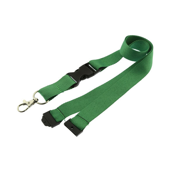 plain neck safety breakaway lanyard with metal lobster hook and detachable buckle