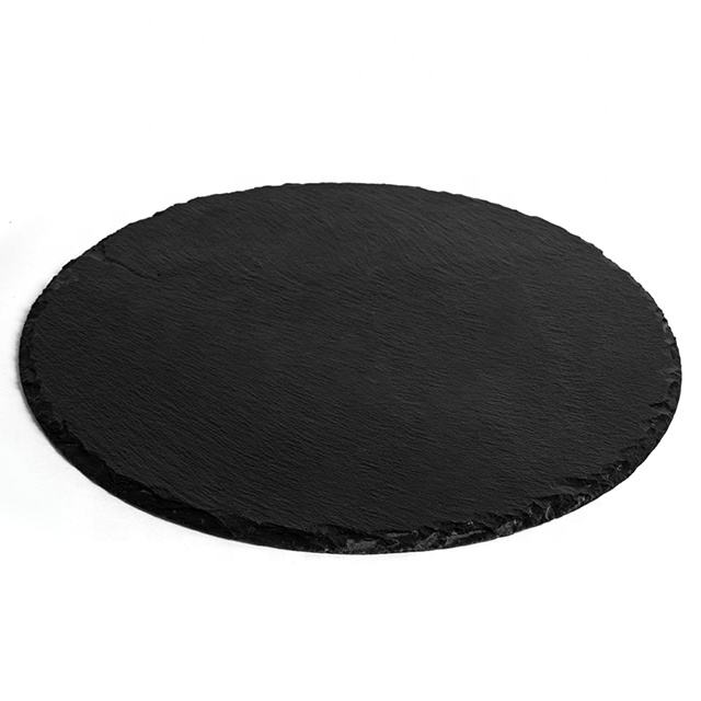 Promotion Natural Black Round Slate Placemat /Cheese Food Serving Board Slate