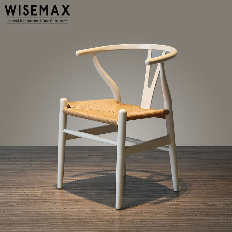 Cheap restaurant furniture white ash wood Hans Wegner Y stylish wishbone dining chair for sale