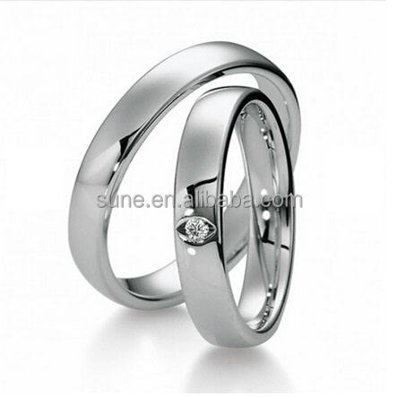 Unique OEM Design Silver White Gold Color Steel Jewelry His and Hers Wedding Bands Promise Rings Sets for Couples