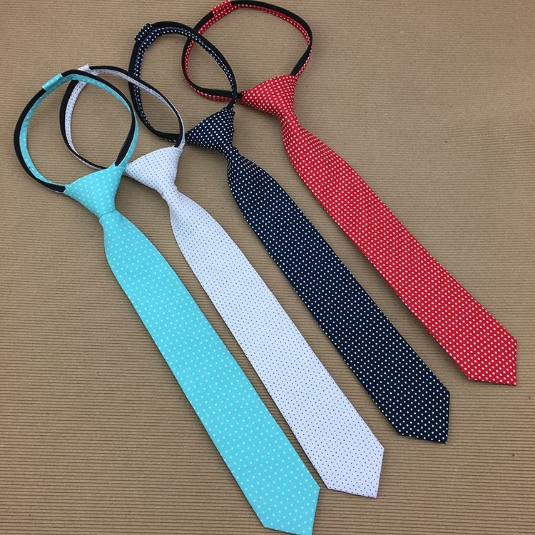 Perfect Neck Knot Elastic Zipper Polyester Mens Short Neckties