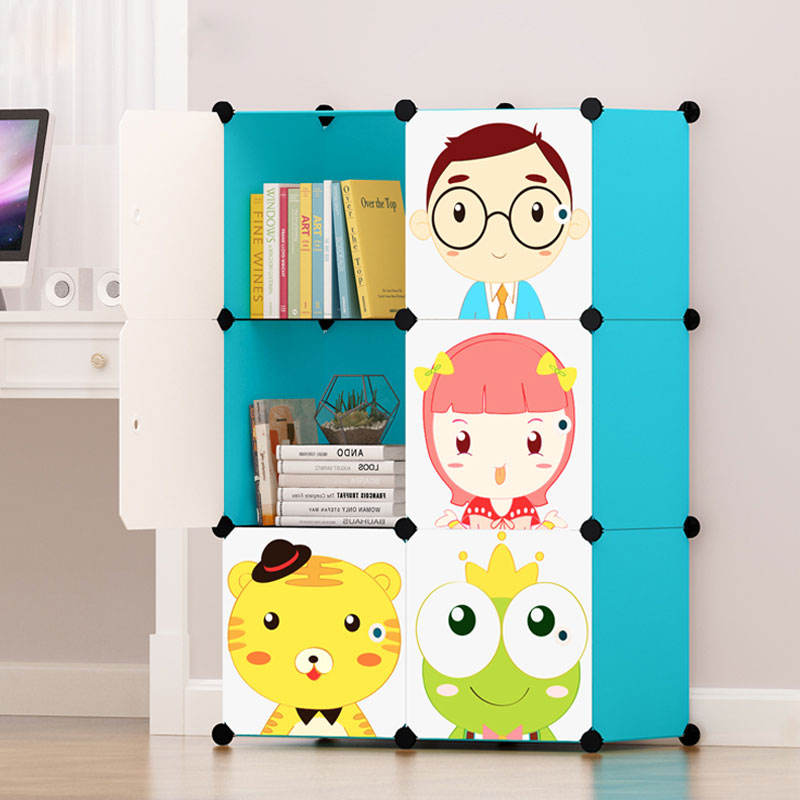 PP material Cube DIY wardrobe closet storage with cartoon doors