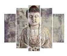 5 panel acrylic stone buddha face islamic painting canvas wall art prints for home decor