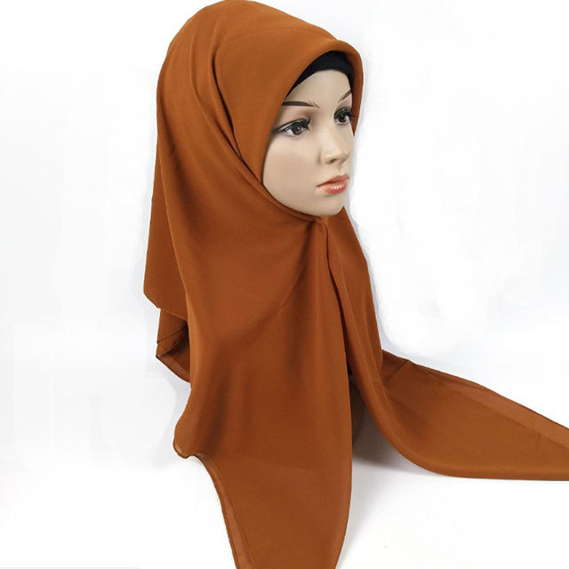 Muslim square 115 cm head cover large size chiffon scarf