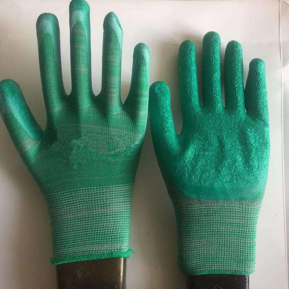 10 gauge grey cotton liner coated latex gloves hot sale rubber working gloves,crinkle finish ,safety latex working gloves