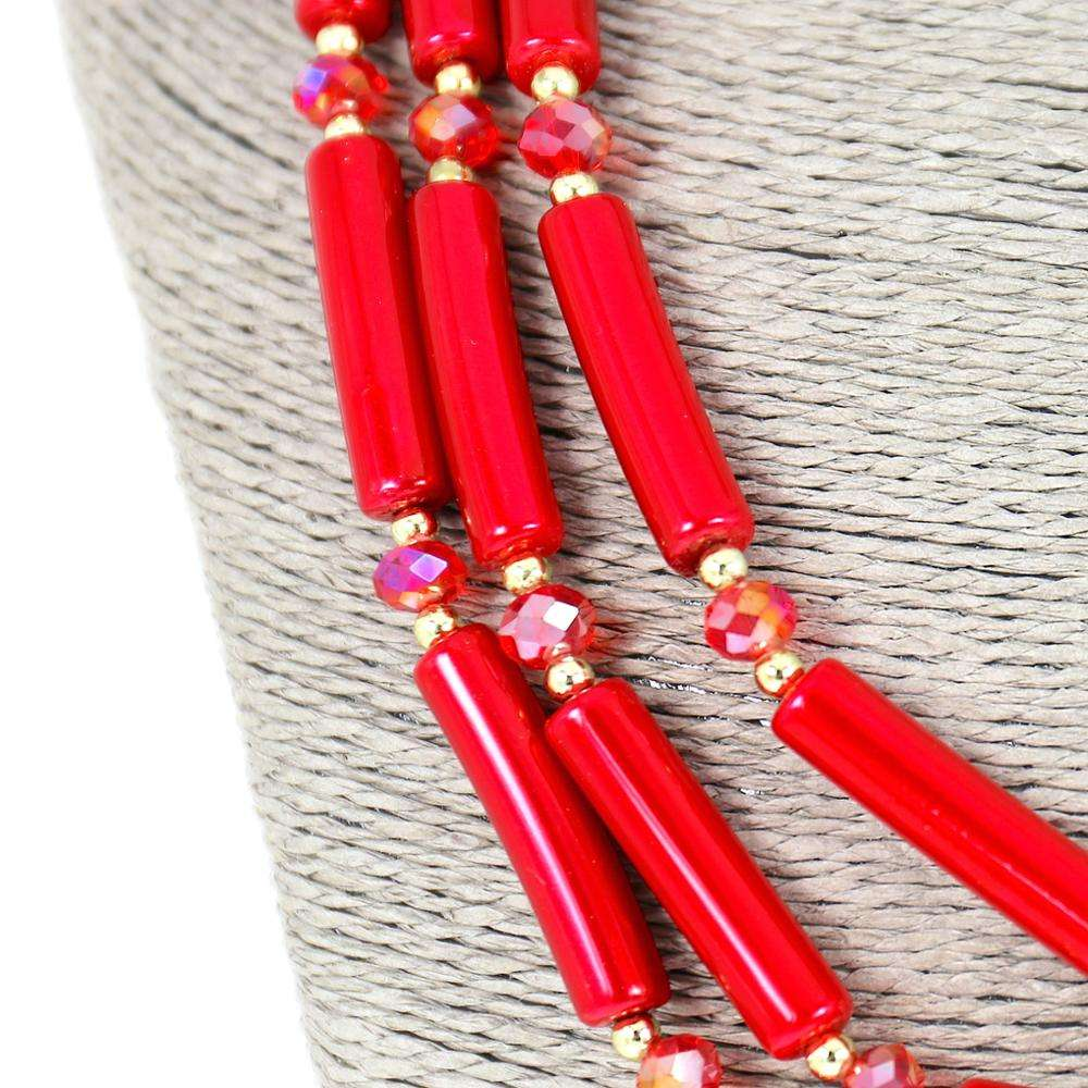 Earring Settings [ Necklace Acrylic ] Fashionable New Design Necklace New Design Fashion Jewelry Long Layered Red Beaded Statement Necklace And Geometric Earrings Acrylic