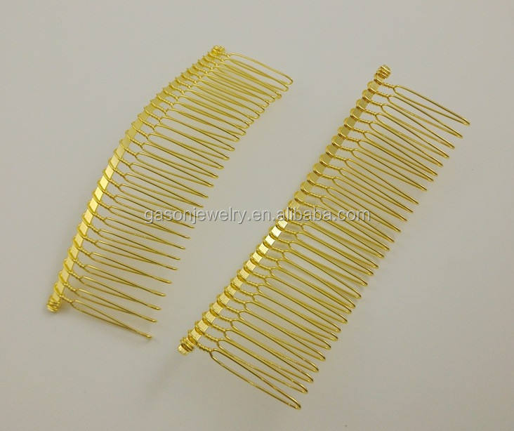 Wholesale handmade 30 teeth gold twisted hair comb