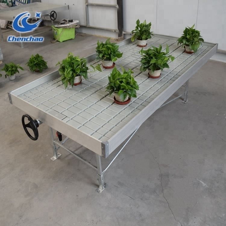 Greenhouse ebb and flow table growing rolling bench