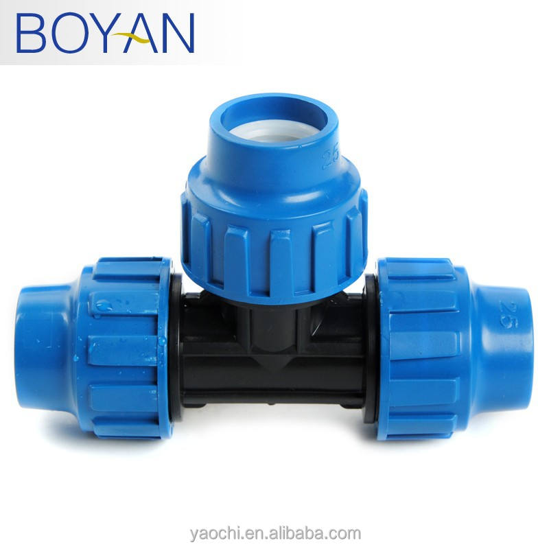 China supplier free samples hydraulic equal PP compression fitting tee