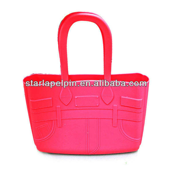 fashion silicone jeans bag with custom design