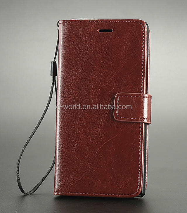 PU mobiele telefoon flip cover wallet stand flip leather case voor huawei ascend P7