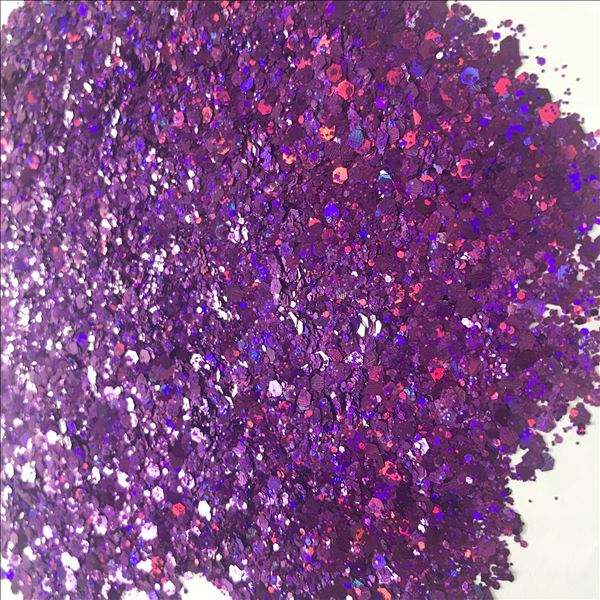 Hot sale top quality cosmetic Pink Holographic chunky glitter for Nail Face body&DIY Crafts