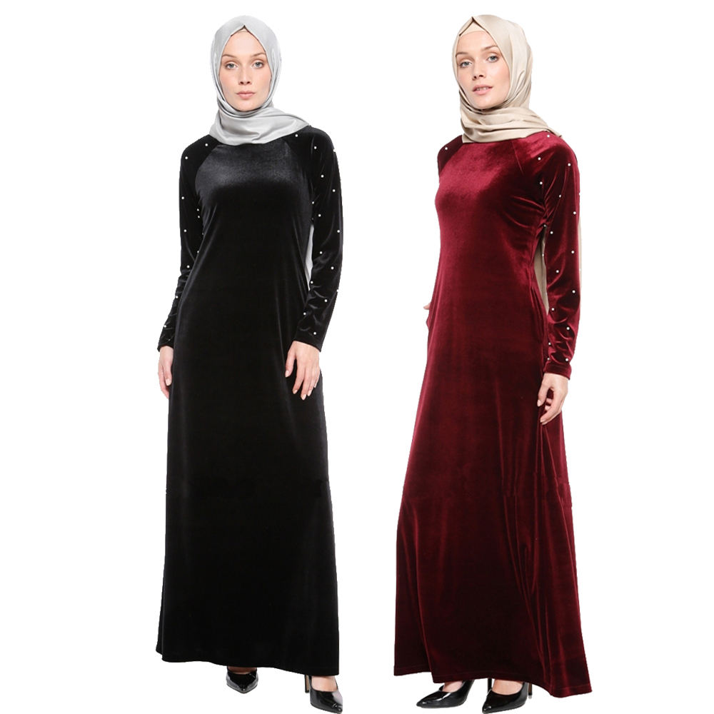 Elegant muslim velvet long dress abaya dress wholesale Dubai abaya Decorated