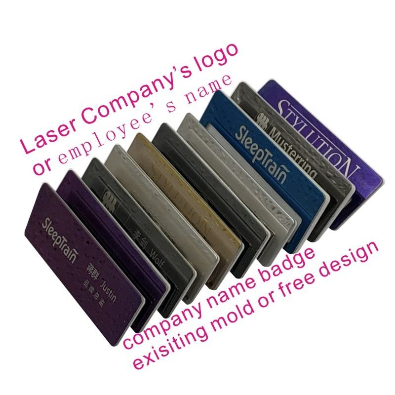 Retail Company Name Badge Magnetic Custom any logo Metal Reusable Name Blank Badges Tag For Employees Pin Badges