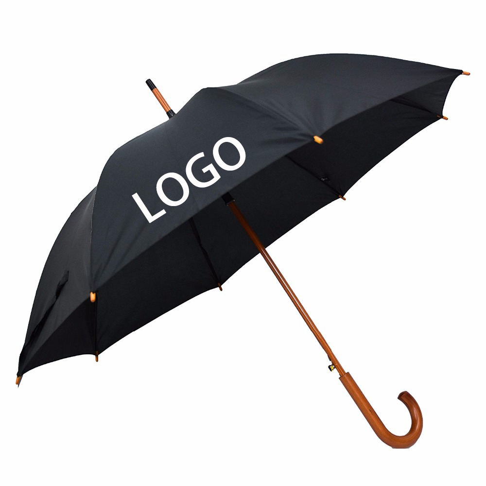 Custom Wooden Hook Handle Long Shaft Auto Open Windproof Advertising Wood Straight Umbrella