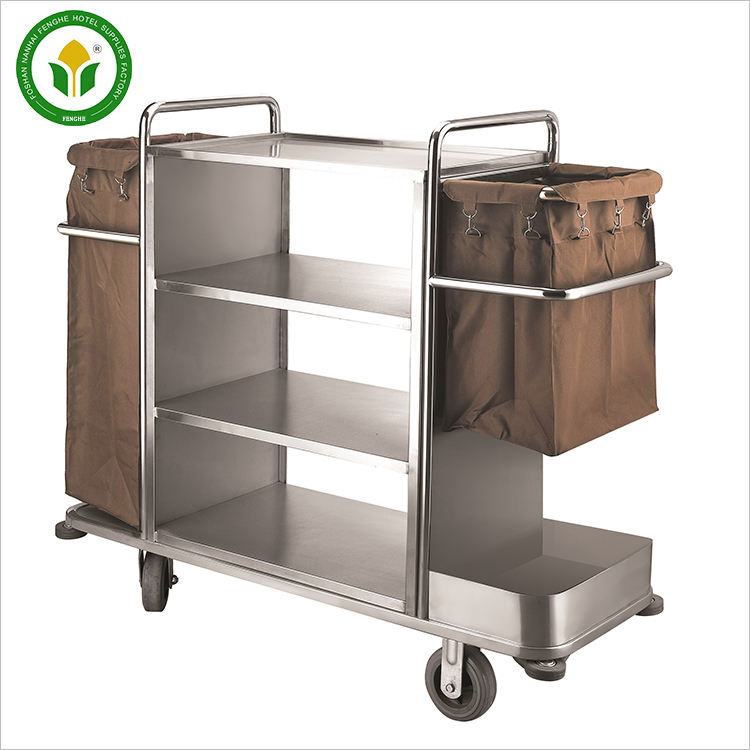High quality hotel room equipment housekeeping cleaning trolley maid cart service trolley