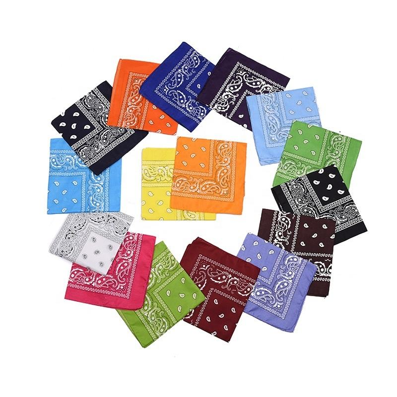 Assorted Bandanas 55*55CM Polyester Novelty Double Sided Print Paisley Cowboy Bandana Party Favor Scarf Headband Handkerchiefs