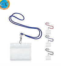Modern design cheap rope lanyard with pvc card holder polyester lanyard with PVC ticket holder PVC name badge