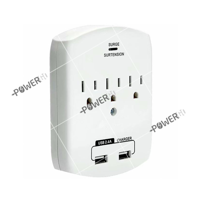 3 Outlet Mini Surge Protector Current Wall Tap With 2 USB Ports 2.4A 350Joules Surge Protector