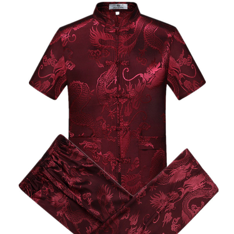 short sleeve silk fabric tai chi clothing dragon embroidery kung fu Tang suit martial arts wushu clothing