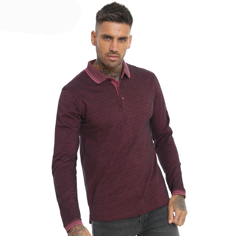 China clothing factory OEM 100% cotton Men's polo shirts Custom Sport Long Sleeve Polo Shirt