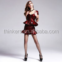 Rock Skirts Punk style PU 100% Red Straight Skirts SKT00902 Devil fashion