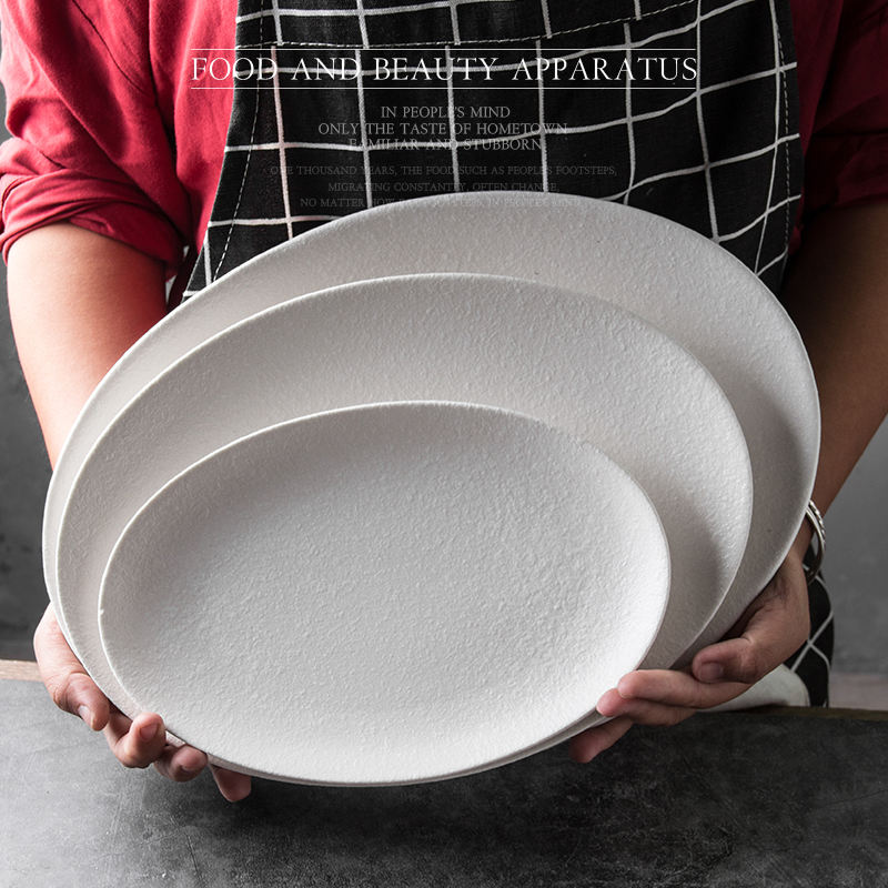 Factory custom 1pc MOQ porcelain stoneware matte glazed tray stock ovall ceramic everyday plate dish