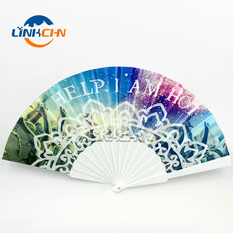 summer hand craft plastic hand fan with your design