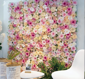 Wedding Backdrop Panel For Decoration Pink Rose And Hydrangea Artificial Silk Flower Wall