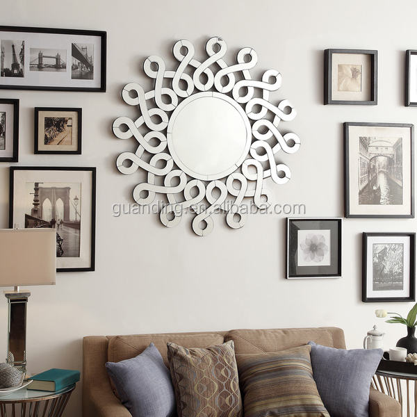 Carved Bevelled Mirror Decorative Round Mirror Wall Mirror