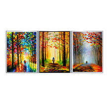 Custom Landscape Impressionist Trees Home Decoration Wood Stretcher Framed Wall Art Canvas Prints Set wiht 3 panels