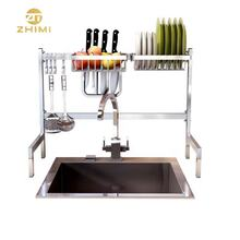 High Quality Metal 304 Stainless Steel Home Kitchen Two Tiers Dish Rack Drainer Over Sink Rack