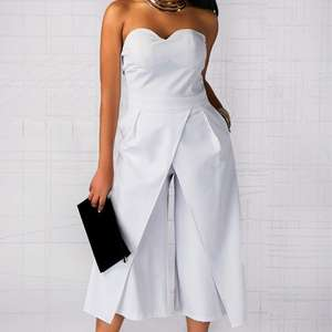 Fashion Sexy Off The Shoulder Party Rompers Womens One Piece White Sleeveless Wide Leg Jumpsuit Women