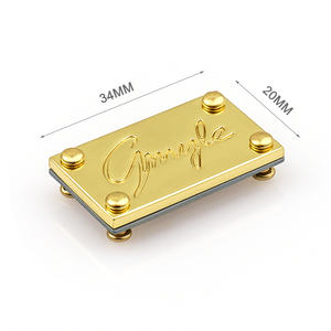 China Supplier Custom Metal Logo Plate for Handbags, Bag Accessories Rectangle with 4 Rivet Gold Metal Label