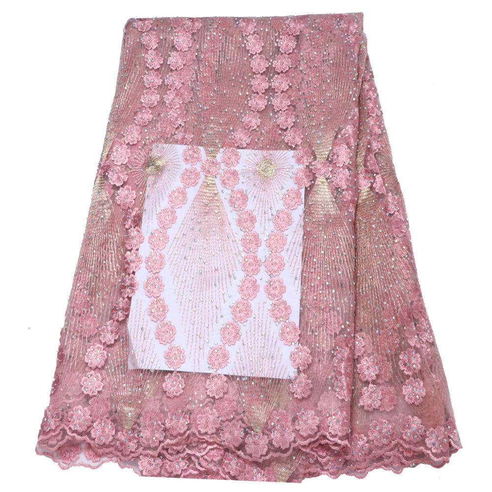 Fashionable Baby Pink French Lace 3D Flower African Lace Embroidered 2018 Nigerian Fabrics For Wedding Dresses T04