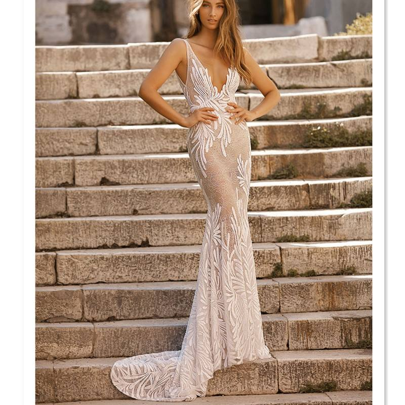 2019 hot styles berta design deep V neck nude bridal mermaid wedding dresses open V back brush train sleeveless wedding gown