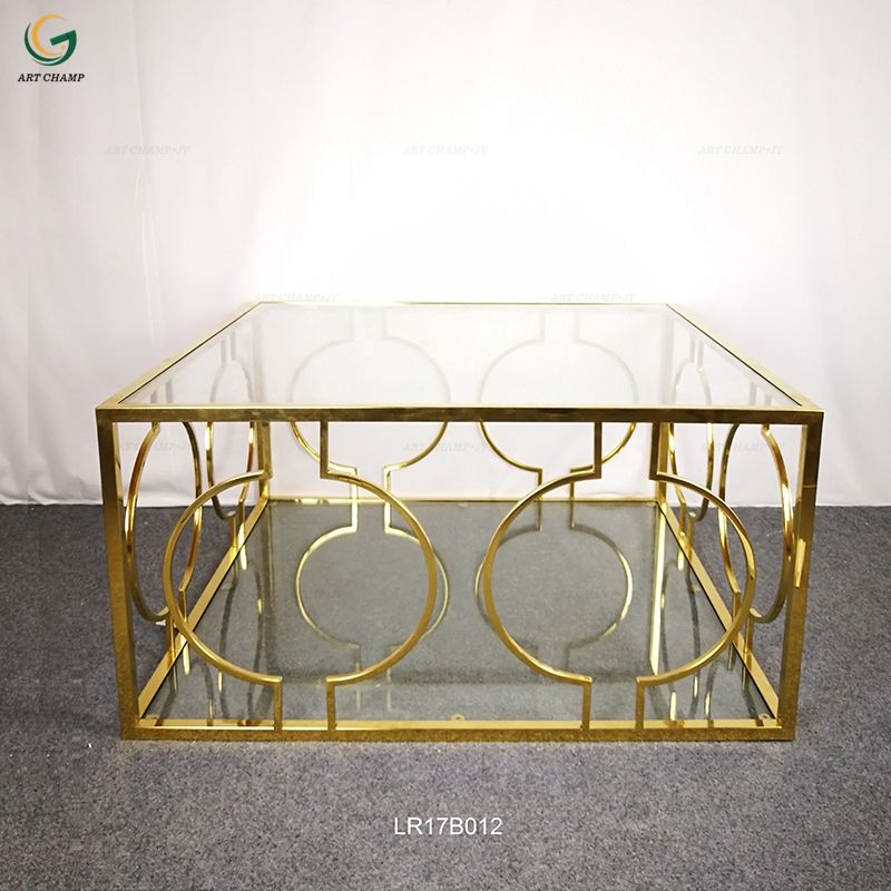 Glass top stainless steel frame gold pattern coffee table modern