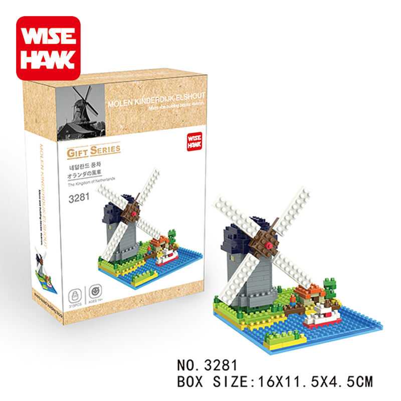 Hot sale plastic Dutch windmill building block toys diamond blocks for kids