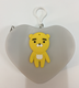 women hand Heart shape bear pattern silicone coin change pocket