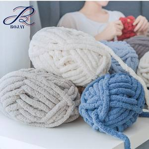 Wholesale Vegan 100% Chenille Yarn For Hand Knitting Blanket Super Soft Thick Cheaper Yarn Price Chunky Polyester Fancy Yarn