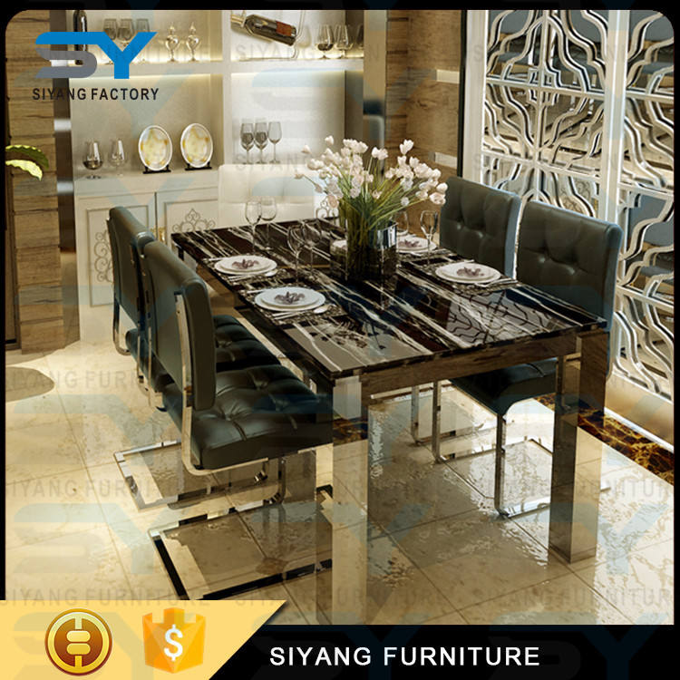 Long marble johor bahru dining table and chairs onyx royal dining table set in Foshan CT031